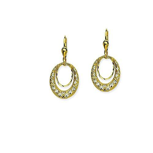 Leverback Earring, 14Kt Gold Earring by DiamondJewelryNY