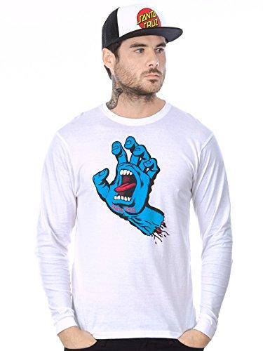 Santa Cruz Langarm T-Shirt – Screaming Hand weiß/blau Größe: L (Large)