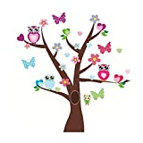 Four Lovely Owl Butterfly on the Beautiful Blossom Tree Wall Decal Wall Decor Wall Sticker for Kids Room Decoration