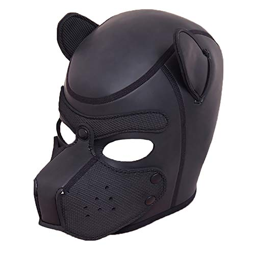Leather Costume Head Mask Hood - Cosplay Leather Mask Full Face Mask Nose Holes Breathable Unisex Halloween Masquerade Mask (Style 2(Halloween -