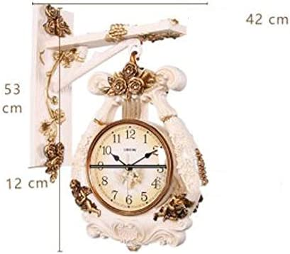 KUQIQI 時計、ヨーロッパのファッション壁掛け時計クリエイティブミュート壁掛け図ホームリビングルームの寝室の時計両面壁掛け時計ライトイエロー、ブロンズ (Color : Bronze, Size : A)