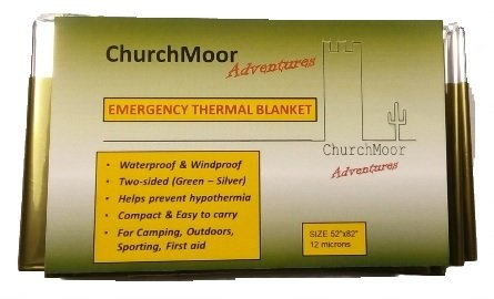 Two Sided Mylar Foil (ARMY GREEN Emergency Thermal Blanket (5-PACK) by Churchmoor Adventures. 52