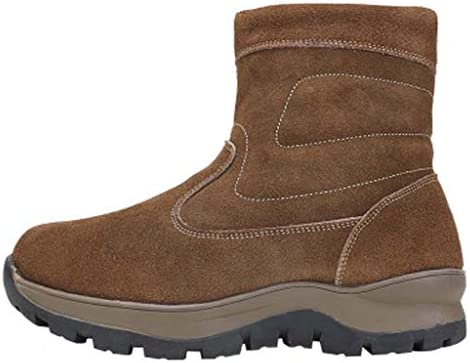 メンズ冬茶色の厚いウールの雪のブーツサイドジッパーの綿のブーツ滑り止め耐摩耗性ゴム屋外の冬のブーツ (色 : 褐色, サイズ : 28 CM)