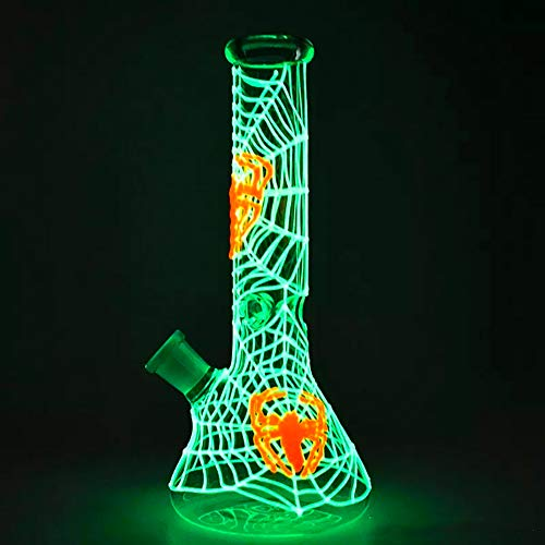 11-inch Handmade Glass Crafts, Glass Big Water Chamber - Easy to Grip and with Ice Shelf, Unique Design(Spider Web Glows in The Dark) by SgooYi (Image #1)