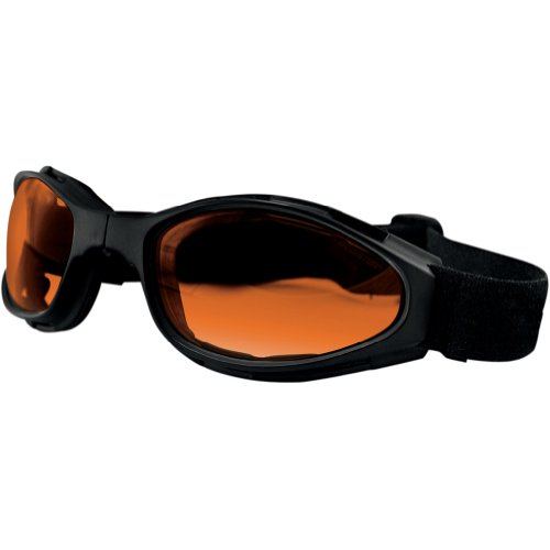 Bobster Crossfire Folding Adult Cruiser Motorcycle Goggles Eyewear - Black/Amber / One Size Fits All