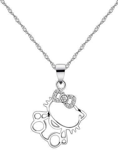 Damen Halskette 45 cm mit Hello Kitty-Anhänger,925 Sterlingsilber mit Cubic Zirconia [RM4051]