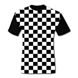 Men's T-Shirts Black & White Checkerboard Squares 3D Floral Print T-Shirt Comfy Casual Tops for Men Tees S