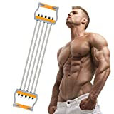 TOCO FREIDO Chest Expander, 5 Tubes Ajustable Arm Strength Trainer, Exercise Resistance Bands for Home Fitness Muscle Training (100lbs)