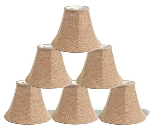 Urbanest 1100258c Chandelier Lamp Shade 6-inch, Bell, Clip on, Burlap (Set of 6) (Burlap Drum Shade Chandelier)