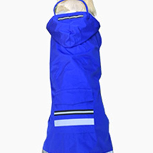 Joopet Big Pet Dog Hooded Raincoat Red Blue Waterproof Raincoats with Hat for Large Dogs (5XL, Blue) by Joopet (Image #1)
