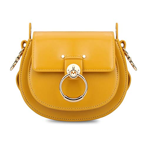 Olyphy Designer Ring Bags for Women, Mini Shoulder Purses Leather Crossbody Bag with Chain (Yellow)