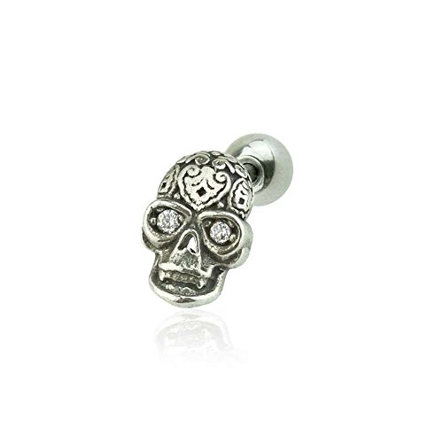 (Dynamique 316L Surgical Steel Cartilage/Tragus Barbell with 925 Sterling Silver Antique Tribal Skull with CZ Eyes)
