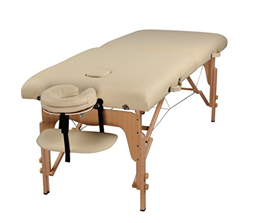 Heaven Massage Extra Wide 3″ Portable Folding Massage Table Comfort Series w/Carry Case & Strap – CREAM
