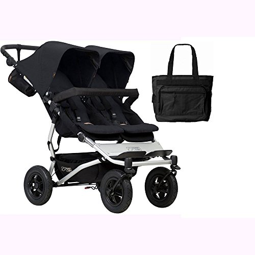 Mountain Buggy Duet V3_5 Double Buggy Stroller - Black with Diaper Bag by Mountain Buggy