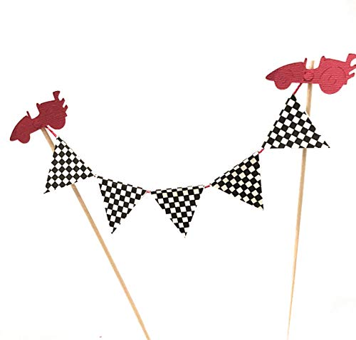 Race Car Cake Banner, Black and White Check