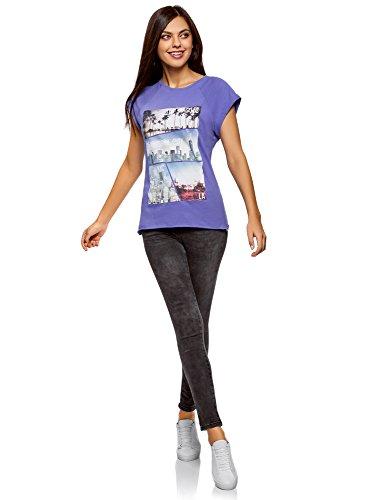 Oodji Camiseta 7519p Mujer Algodón De Ultra Morado Estampado Con rwaEqr