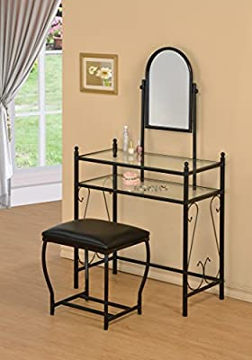 3-Piece Metal Make-Up Scroll Mirror Vanity Dresser Table and Stool Set, Black from eHomeProducts