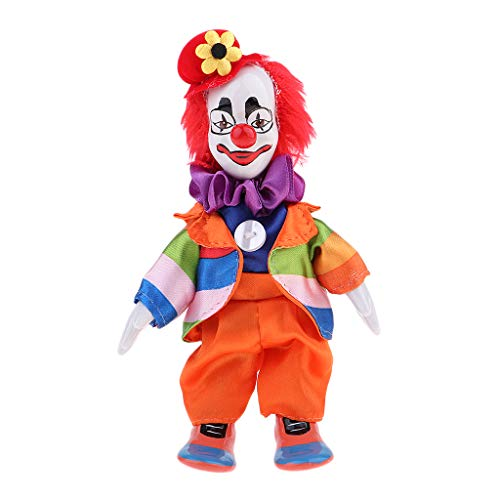 Prettyia Porcelain Clown Doll Man Figure Doll Toy Halloween Decor Ornaments Birthday Gift 18cm ()
