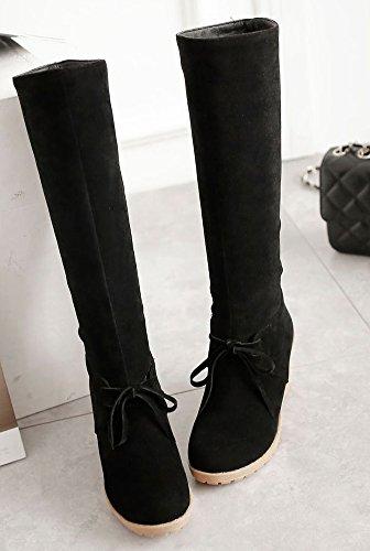 Haute Noir Aisun Bottes 7cm Pente Mode Tige Femme Mollet IF7UF8