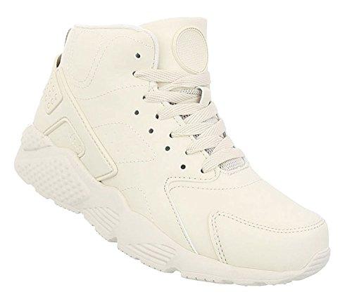 Schuhcity24 Damen Schuhe Freizeitschuhe Sneakers Creme