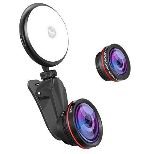 Phone Camera Lens kit with Beauty LED Fill Light for iPhone & Android Phones/iPad/Tablet/Laptop,50X Macro Lens and 4K HD Wide-Angle Lens 185° Fisheye Lens (Best Macro Lens 2019)
