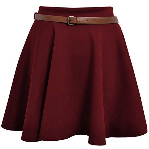 À Extensible Uni Avec Fille Taille Jersey 42 Ceinture Patineuse 36 Court Bordeaux GenericJupe Femme Plissée nwP8Xk0O