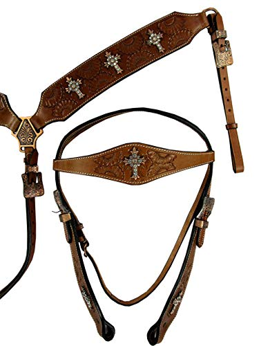 Orlov-Hill-Leather-Co-Headstall-Breast-Collar-Set-Floral-Tooled-Cross-Show-Trail-Event-Western-Horse-Bridle