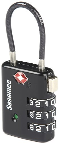 Sesamee K7500PSB 3 Dial Resettable Combination Cable TSA Approved Travel Lock with Indicator, Black