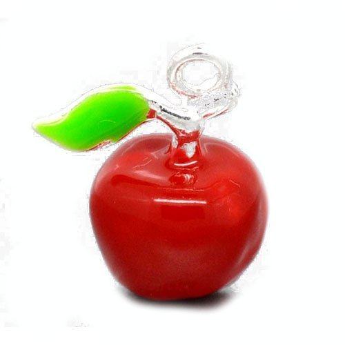 - Packet of 4 x Red/Green Enamel & Alloy 19mm Charms Pendants (Apple) - (ZX05605) - Charming Beads