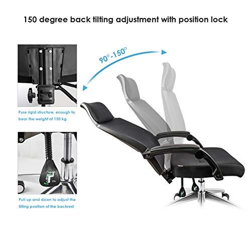 mfavour kontorsstol ergonomisk nätstol, kontorsstol med hög rygg, brett nackstöd och 150 ° lutningsfunktion, justerbar sitthöjd och ryggstöd, lastkapacitet upp till 150 kg