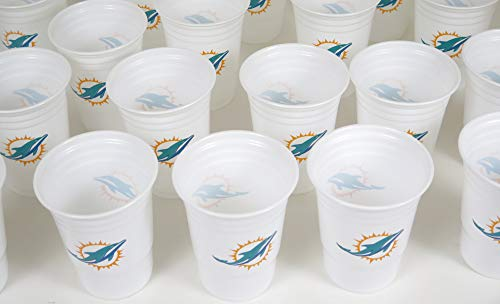 Miami Dolphins Jumbo party cups set of 36. Large plastic colorful 18 oz. game day plastic cups. -