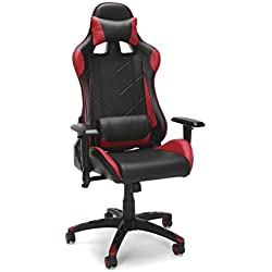 Essentials Racing Style Leather Gaming Chair - Ergonomic Swivel Computer, Office or Gaming Chair, Red (ESS-6066-RED)