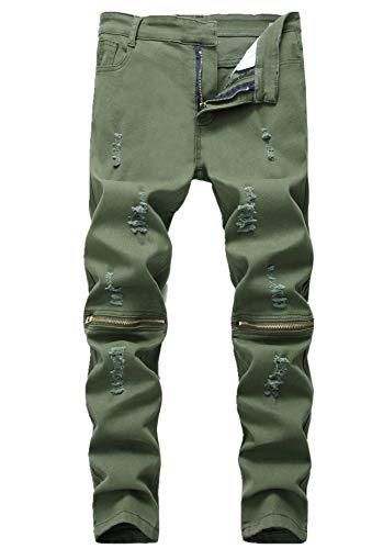 GUNLIRE Boy's Army Green Skinny Fit Jeans Stretch Denim Kids Basic Pants with Zipper -