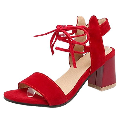 SJJH Roman Sandals with Chunky Heel and Lace up Comfortable Mid Heels for Fashion Women Red irpWA