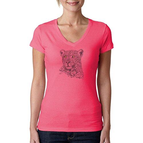Fun Girlie V-Neck Shirt - Gray Leopard by Im-Shirt Light-Pink VmdUDf
