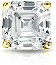 78e9c8d8a 14k Gold Asscher Diamond 4-Prong Martini SINGLE STUD Earring (1/4 -