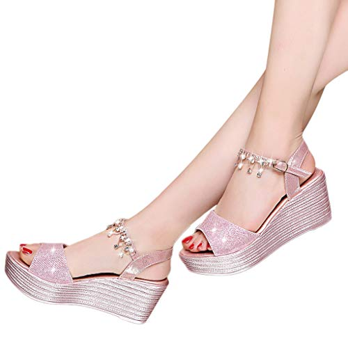 Diamante Correa Zapatos Plataforma Con Mujer Abiertos Sandalias Del Cómodos Princesa Colgante Verano Elegantes Nueva Cuña Ocasionales zapatos Cm De Para Rosado ♀ Plateada Mujeres 5 Pie 8wvHHqtx7