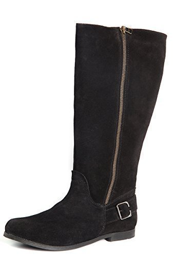 Mid Womens Boots Calf Linings Sheep fur Black Leather Suede qqFtTv