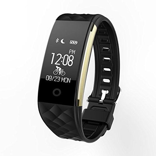 Fitness Tracker Bluetooth Watch Bracelet – Luxsure Waterproof Activity Monitors Heart Rate Sleep Health Tracker Step Counter Notification Alerts Smart Wristband for IOS/Android Smartphones (Black)