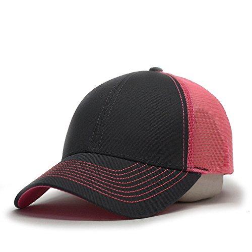 Vintage Year Plain Two Tone Cotton Twill Mesh Adjustable Trucker Baseball Cap (Charcoal Gray/Neon Pink) ()