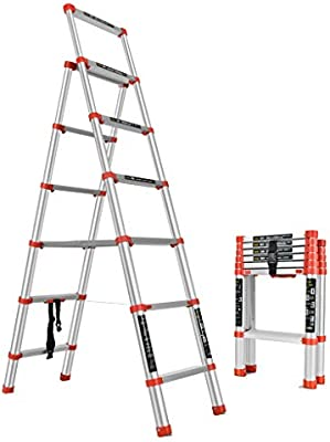 Escaleras Escalera telescópica portátil de aluminio multiusos, escalera plegable, escalera de mano del hogar, escalera de mano del desván del jardín de la oficina en casa, antirresbaladizo: Amazon.es: Bricolaje y herramientas