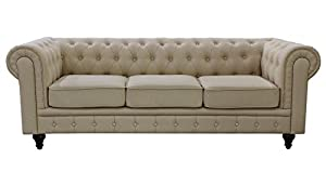 US Pride Furniture S5071 S Linen Fabric Chesterfield Sofa Set, Beige