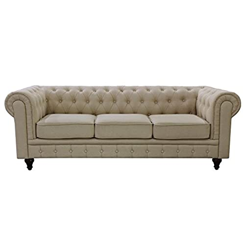 Charming US Pride Furniture S5071 S Linen Fabric Chesterfield Sofa Set, Beige