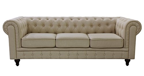 US Pride Furniture S5071-S Linen Fabric Chesterfield Sofa Set, - Us Chesterfield