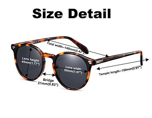 polarizadas acetato de de ve Vintage lens sol de Gafas Gafas Material de sol redondas Hombre Tortoise Gafas grey sol EyeGlow S5256 polarized fFZ67qW