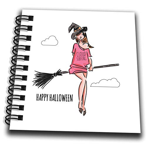 3dRose Alexis Design - Holidays Halloween - Beautiful Witch Flies The Stick. Cloud Surfing. Happy Halloween - Mini Notepad 4 x 4 inch (db_299466_3) -