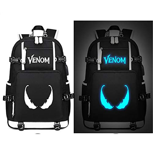 Marvel Venom Luminous Backpack Spider Man Bags Students Book Laptop Shoulder School Travel Bags Teenagers Rucksack Gift (Style ()