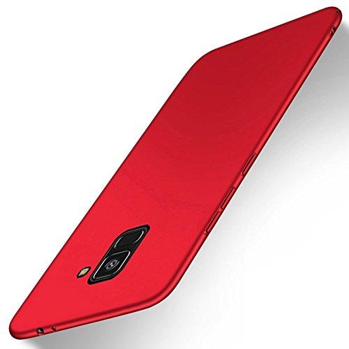 SMTR Samsung Galaxy A8 2018 Funda, Calidad Premium Cubierta Delgado Caso de PC Hard Gel Funda Protective Case Cover para Samsung Galaxy A8 2018 -Oro rosa rojo