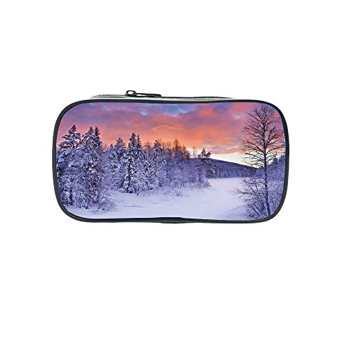 (Strong Durability Pen Bag,Winter,Falling Snow Splashes Stains of Watercolors Shades of Blue Abstract Christmas Inspired,for Students,Diversified Design.8.7