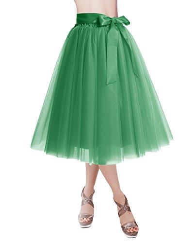 Tinkerbell Tutu Dress (DRESSTELLS Knee Length Tulle Skirt Tutu Skirt Evening Party Gown Prom Formal Skirts Green)